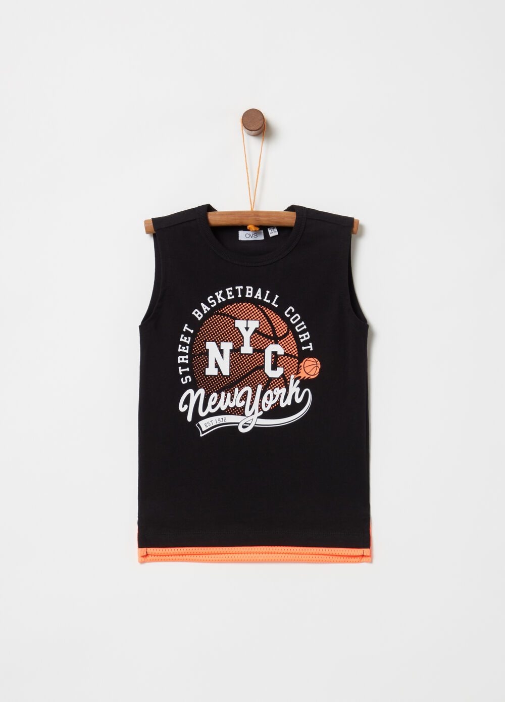 Vest with faux layer and basketball print