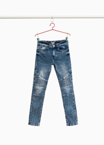 Slim-fit stretch jeans with stitching