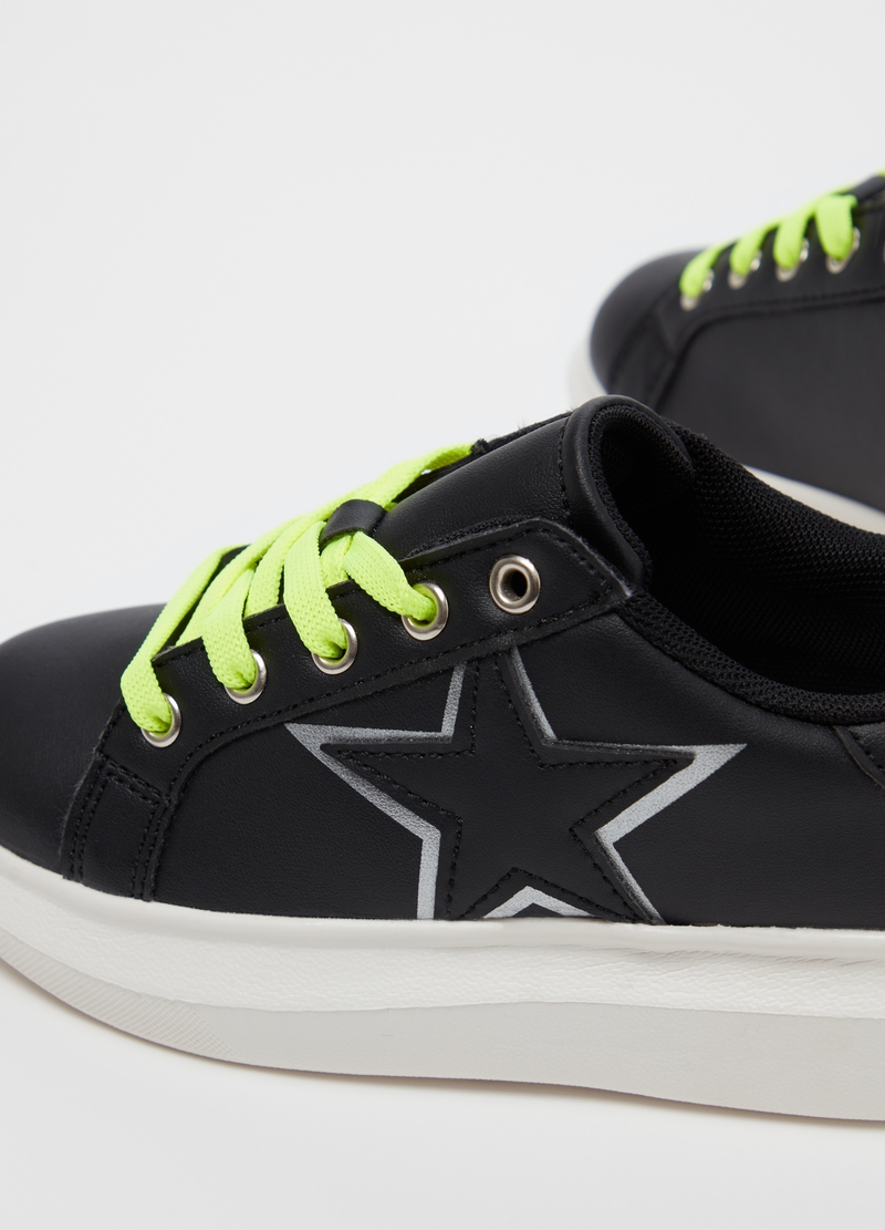 Faux leather sneakers with star embroidery image number null