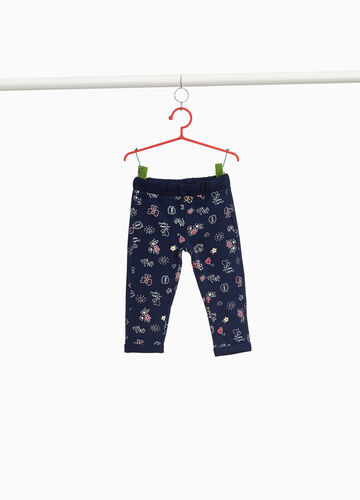 Stretch cotton patterned trousers