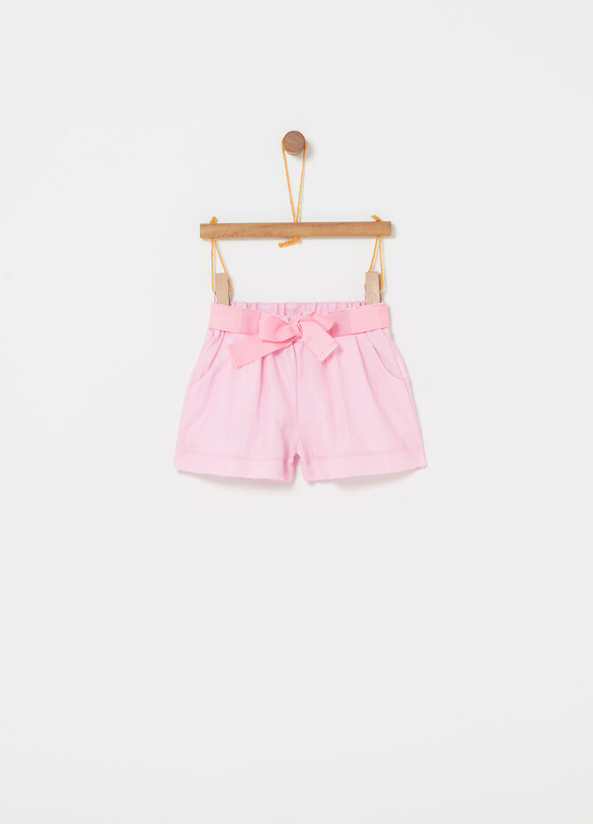 Shorts with elastic waist and belt
