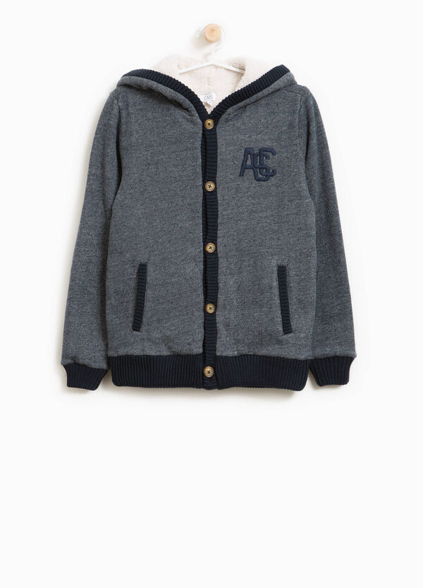 Cotton blend cardigan with hood | OVS