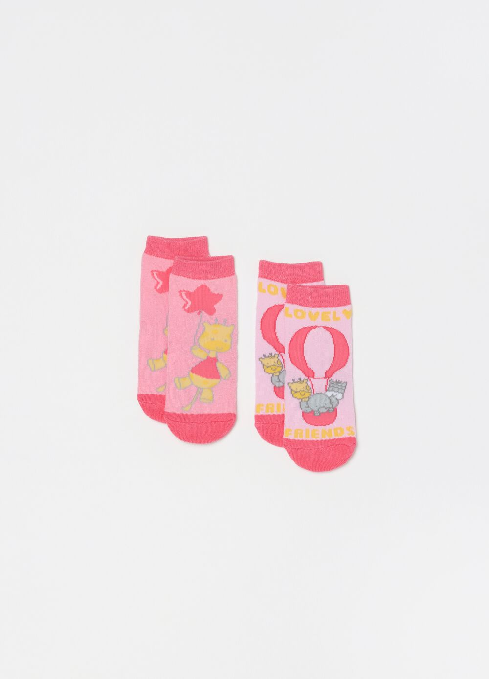 Two-pair pack slipper socks with animals