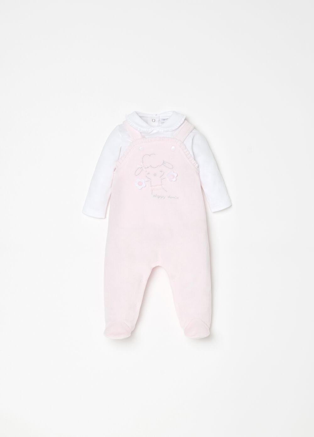 T-shirt and dungarees set with feet and embroidery