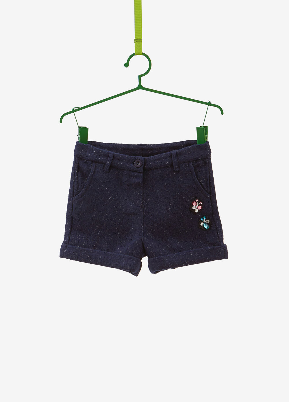 Shorts with lurex and diamantés