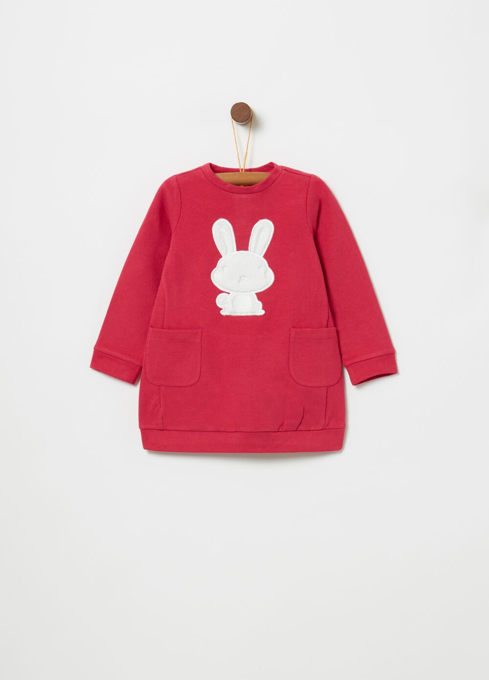 Organic cotton fleece dress with embroidery