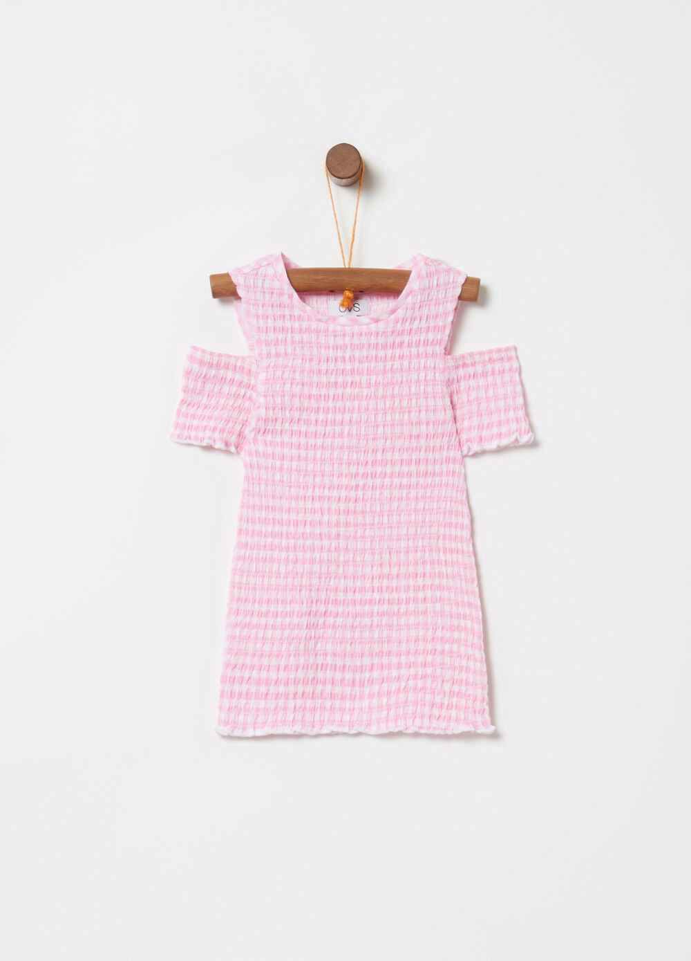 Smock stitch top with check pattern