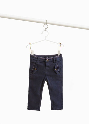 Cotton blend trousers with flaps
