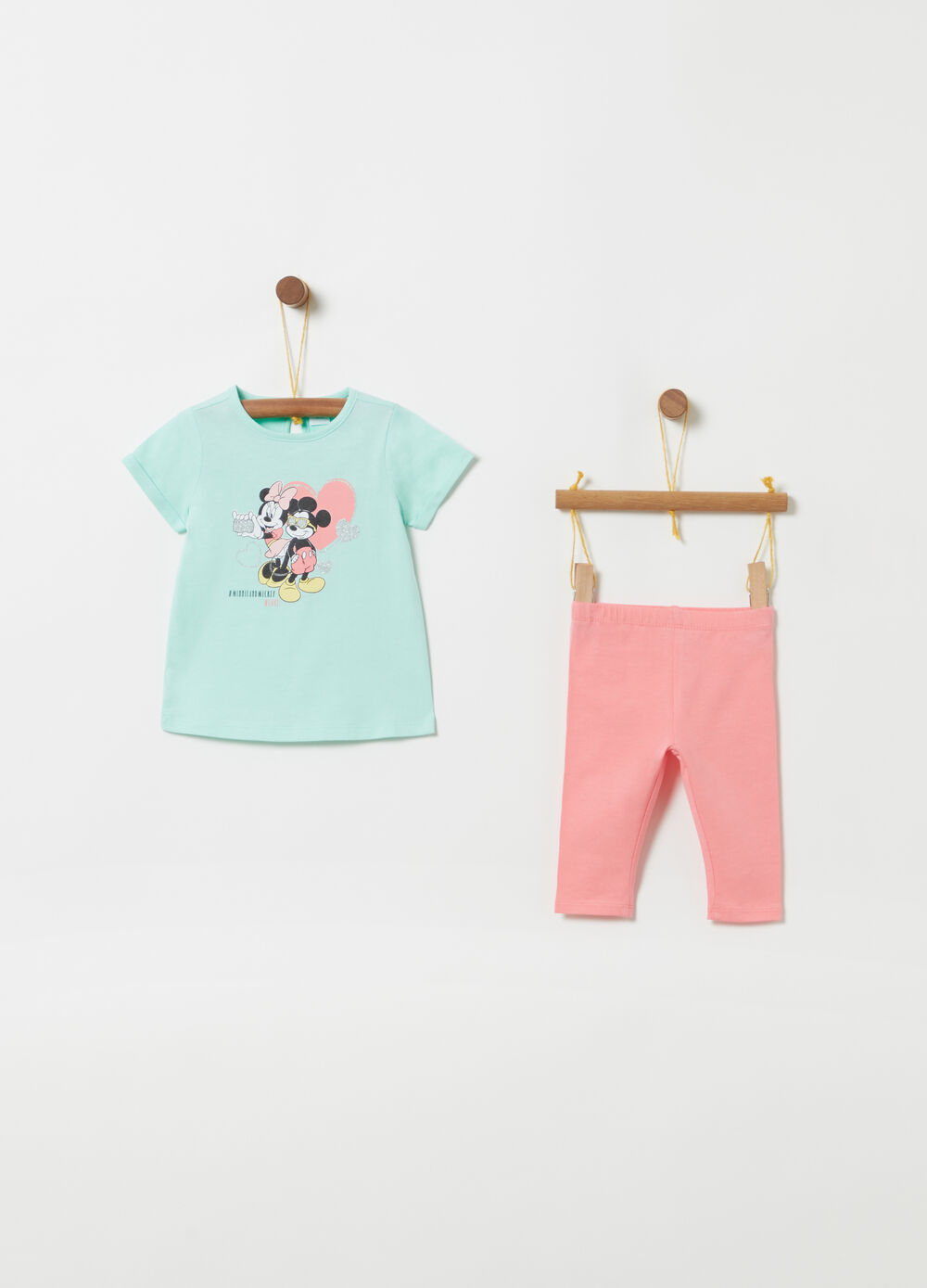 Disney glitter T-shirt and leggings jogging set