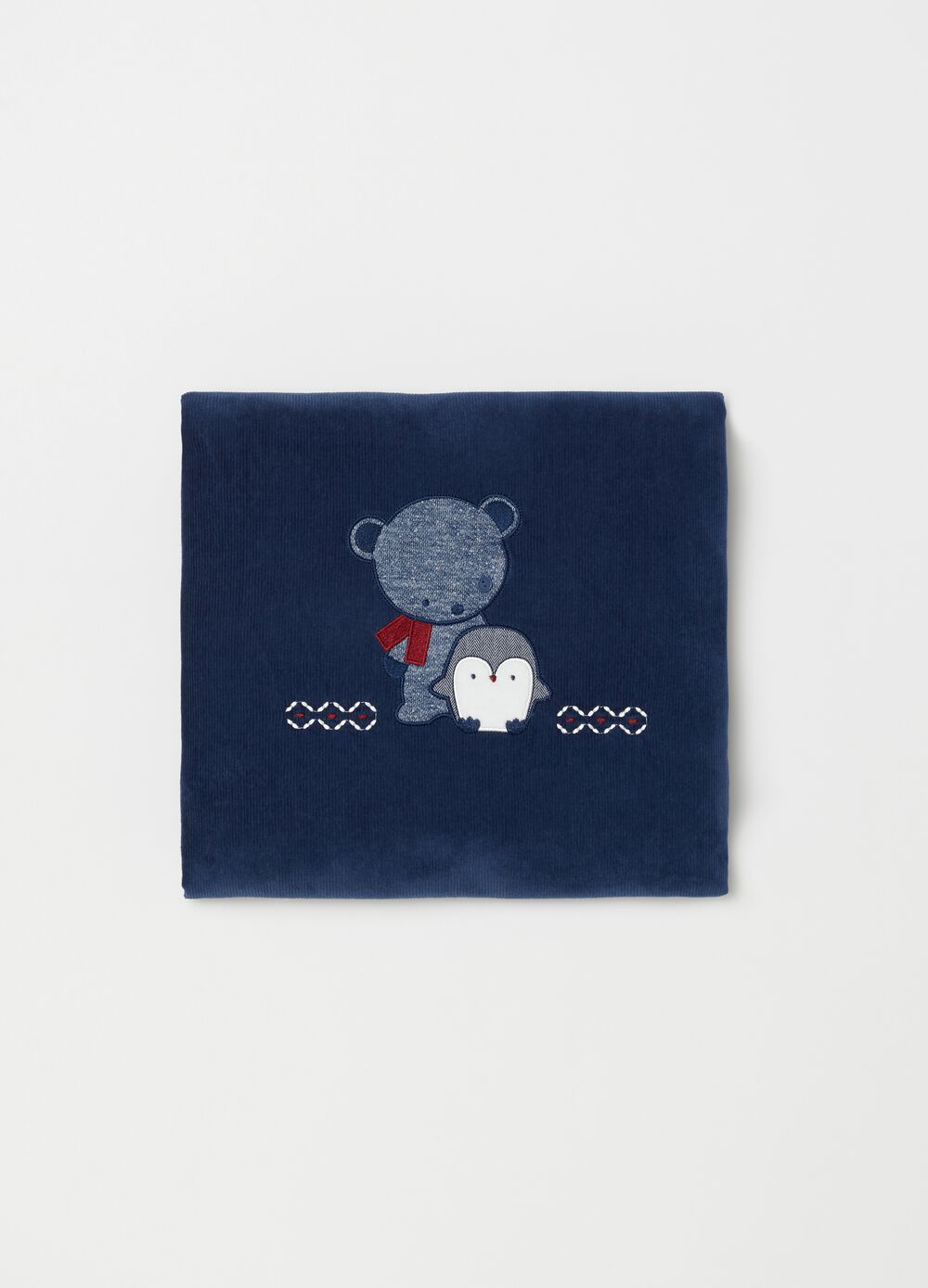 Padded blanket with embroidery