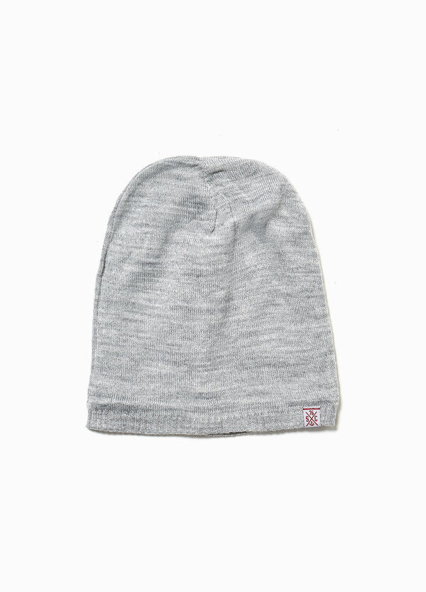 Mélange beanie cap with patch