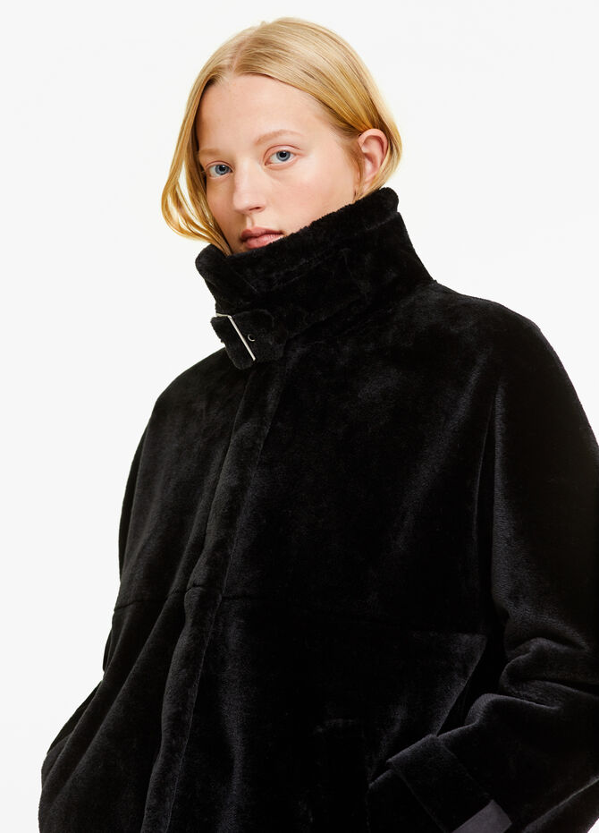 Faux fur coat with high neck