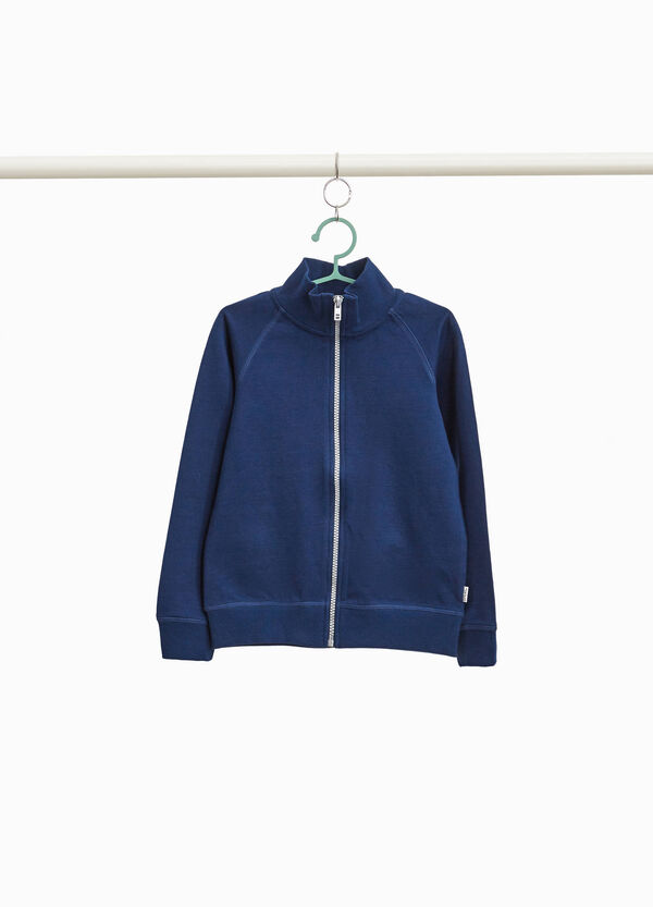 100% cotton sweatshirt with high neck and zip