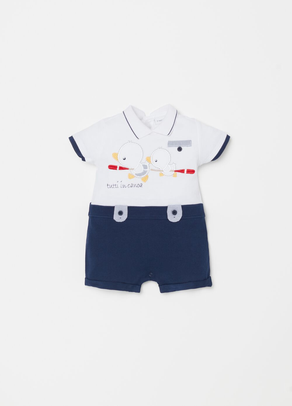 Onesie in 100% organic cotton with embroidery