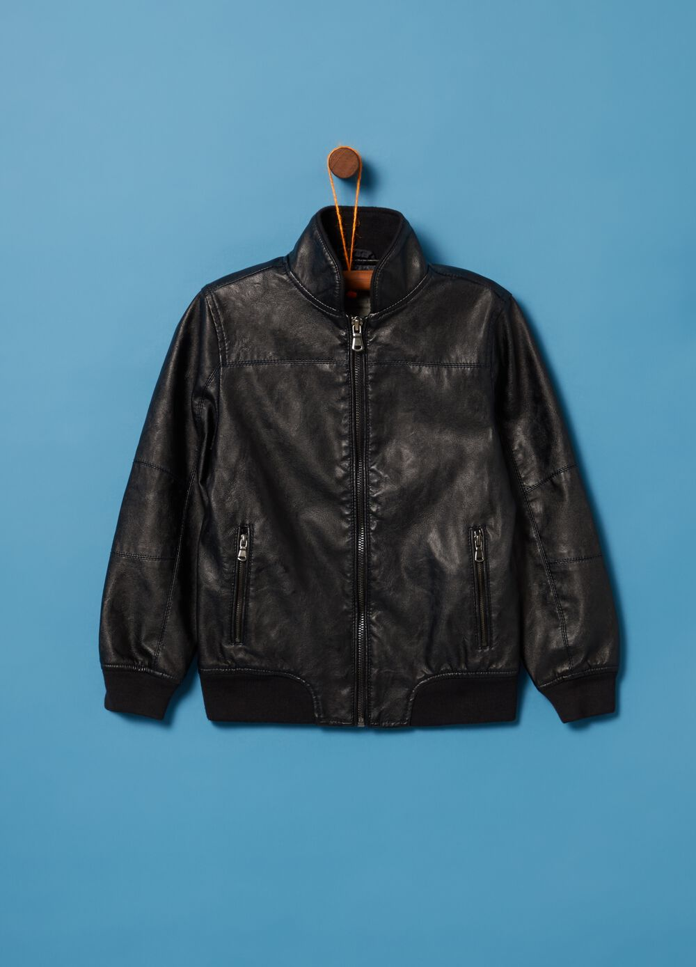 Faux leather bomber jacket with ribbing and zip