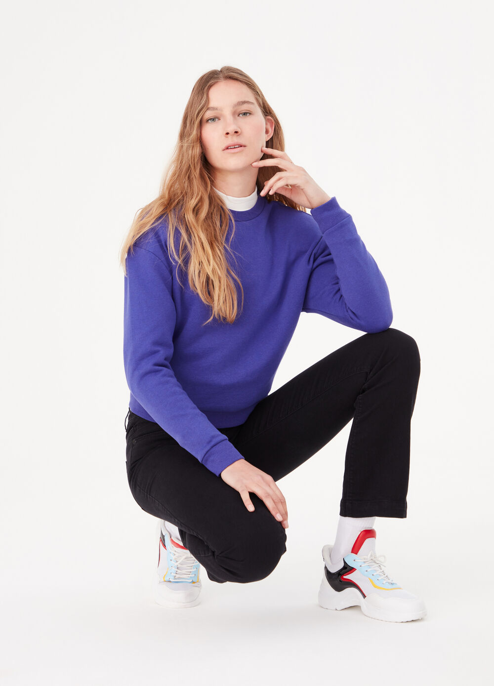 BCI cotton brushed sweatshirt with round neck