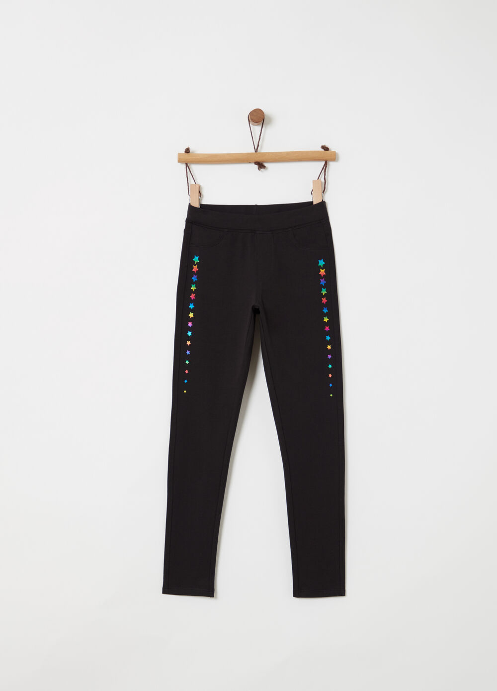 Stretch jeggings with stars print