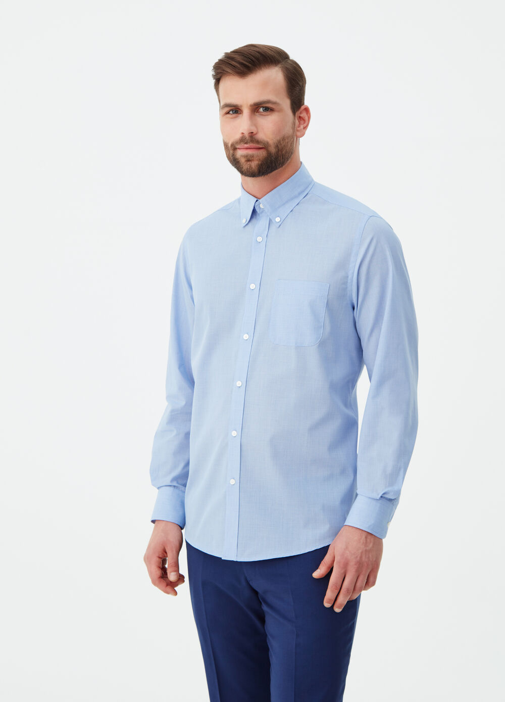 Regular-fit poplin shirt with pattern