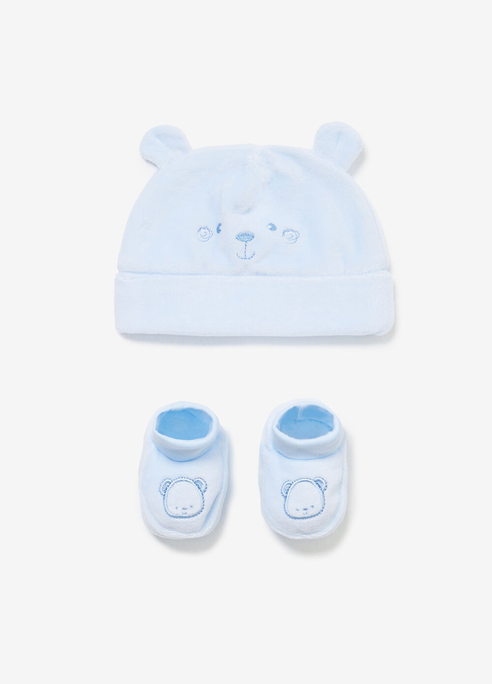 Set consisting of beanie cap and embroidered baby shoes
