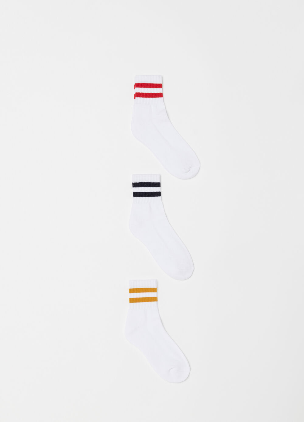 Three-pack ribbed and striped socks