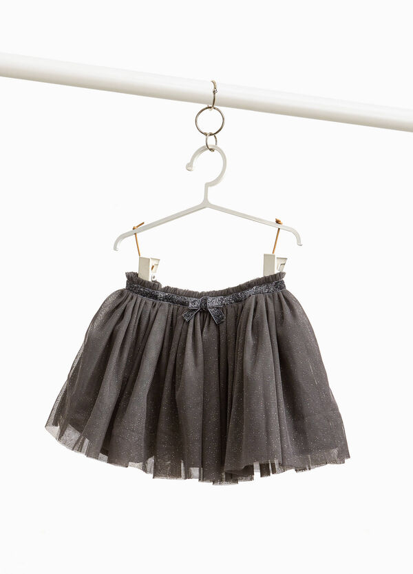 Skirt in glitter tulle with bow