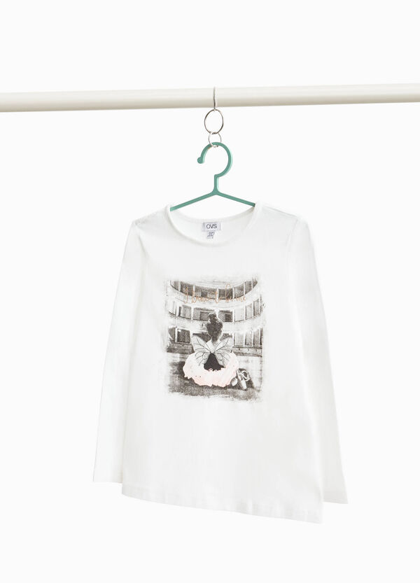 Stretch cotton T-shirt with ballerina print