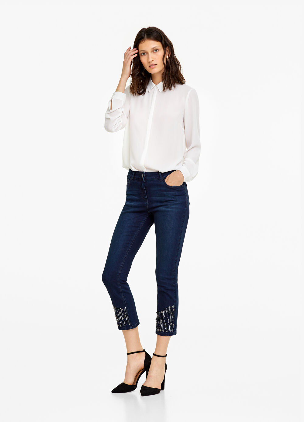Worn-effect, skinny-fit jeans with studs