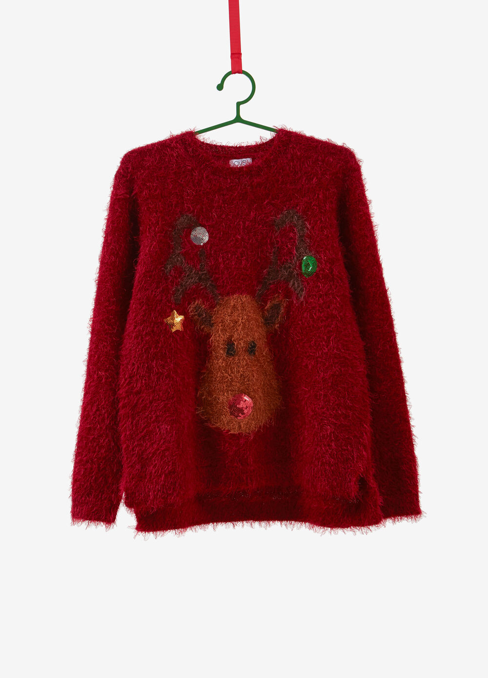 Christmas sweater with reindeer embroidery