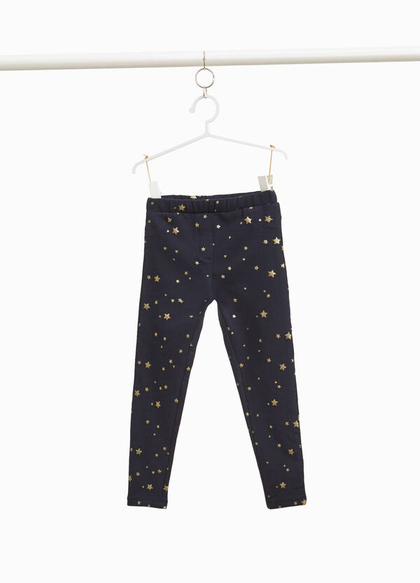 Stretch cotton trousers with star pattern