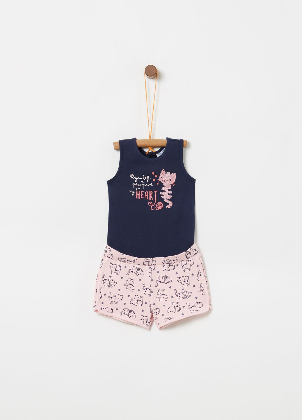 Jumpsuit with glittery print and kitten pattern