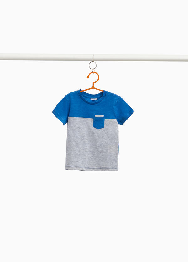 Two-tone viscose and cotton T-shirt