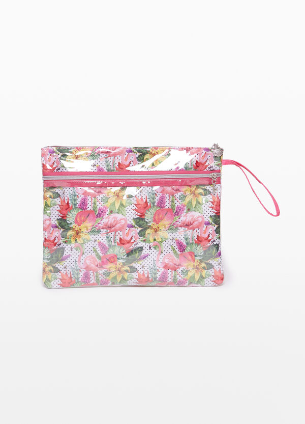 Shiny floral clutch bag with zip