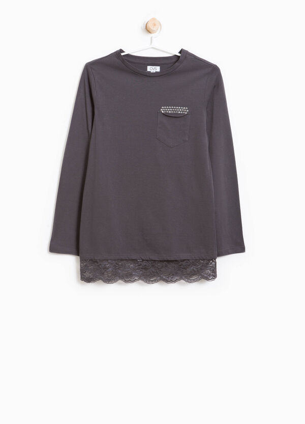 Cotton T-shirt with sequins and lace | OVS