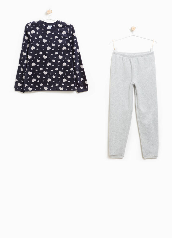 Solid colour and heart-patterned fleece pyjamas | OVS