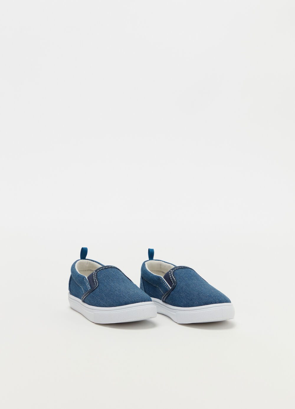 Denim slip-ons with thick sole