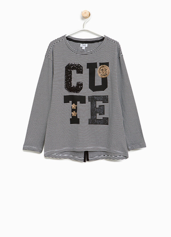 Striped T-shirt with sequins | OVS