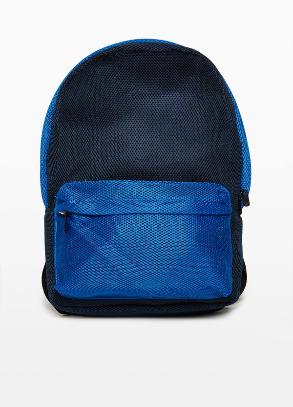 Two-tone backpack with openwork design