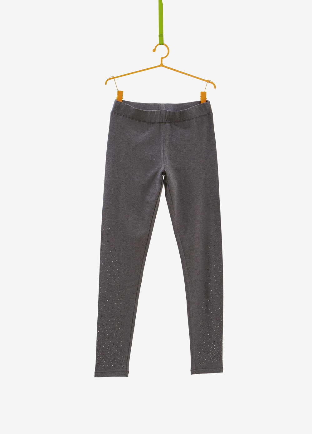 Stretch cotton and viscose leggings with studs