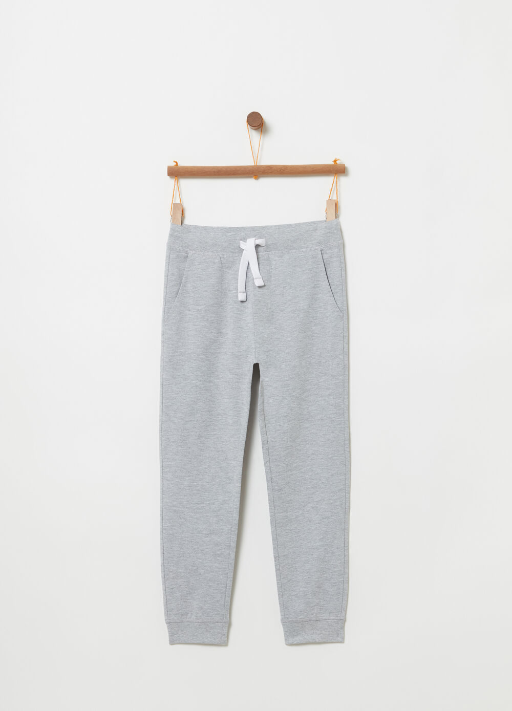 Regular-fit mélange trousers with pockets