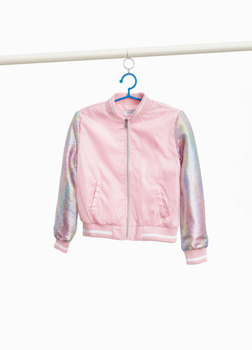 Bomber jacket with sequinned sleeves
