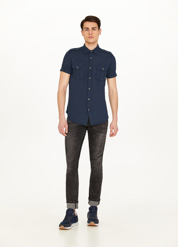 Linen and cotton casual shirt with epaulettes