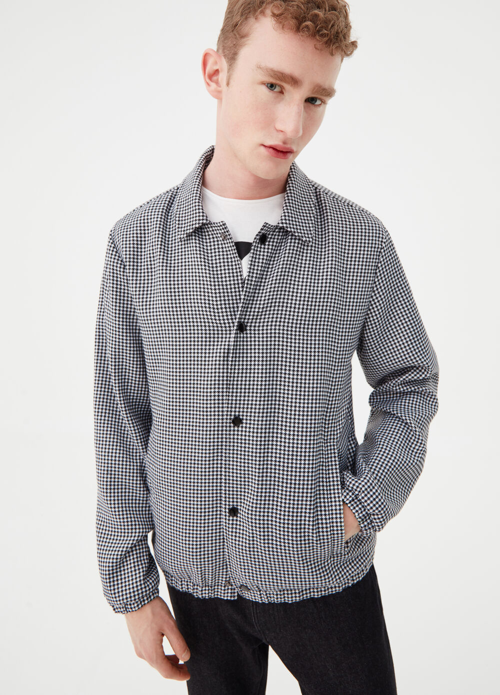 Check pattern stretch jacket