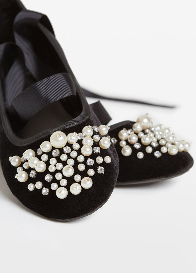 Diamanté and beaded ballerina flats
