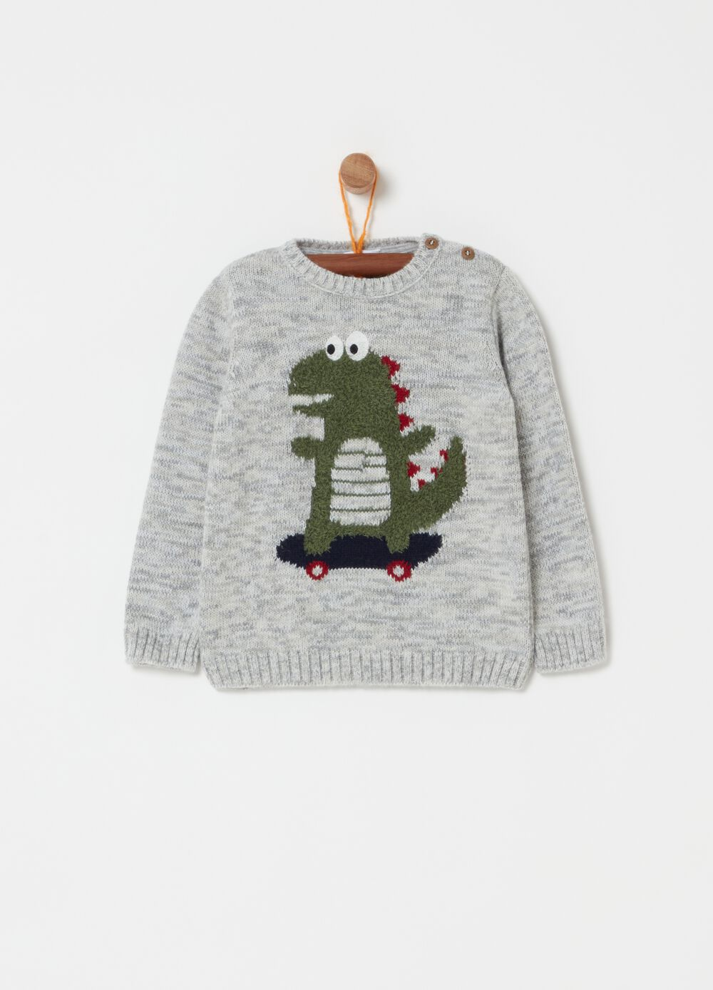 Mélange pullover with dinosaur embroidery