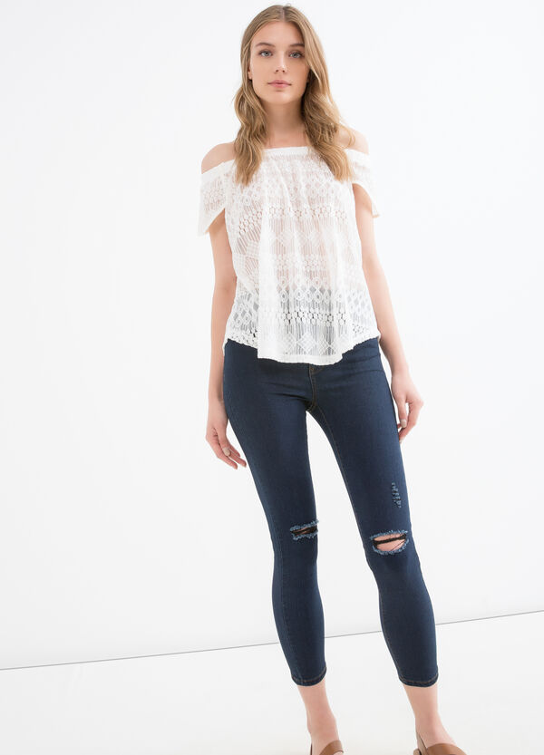 Boat neck T-shirt with embroidery   OVS