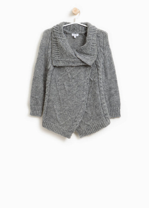 Cardigan in lana mohair tricot