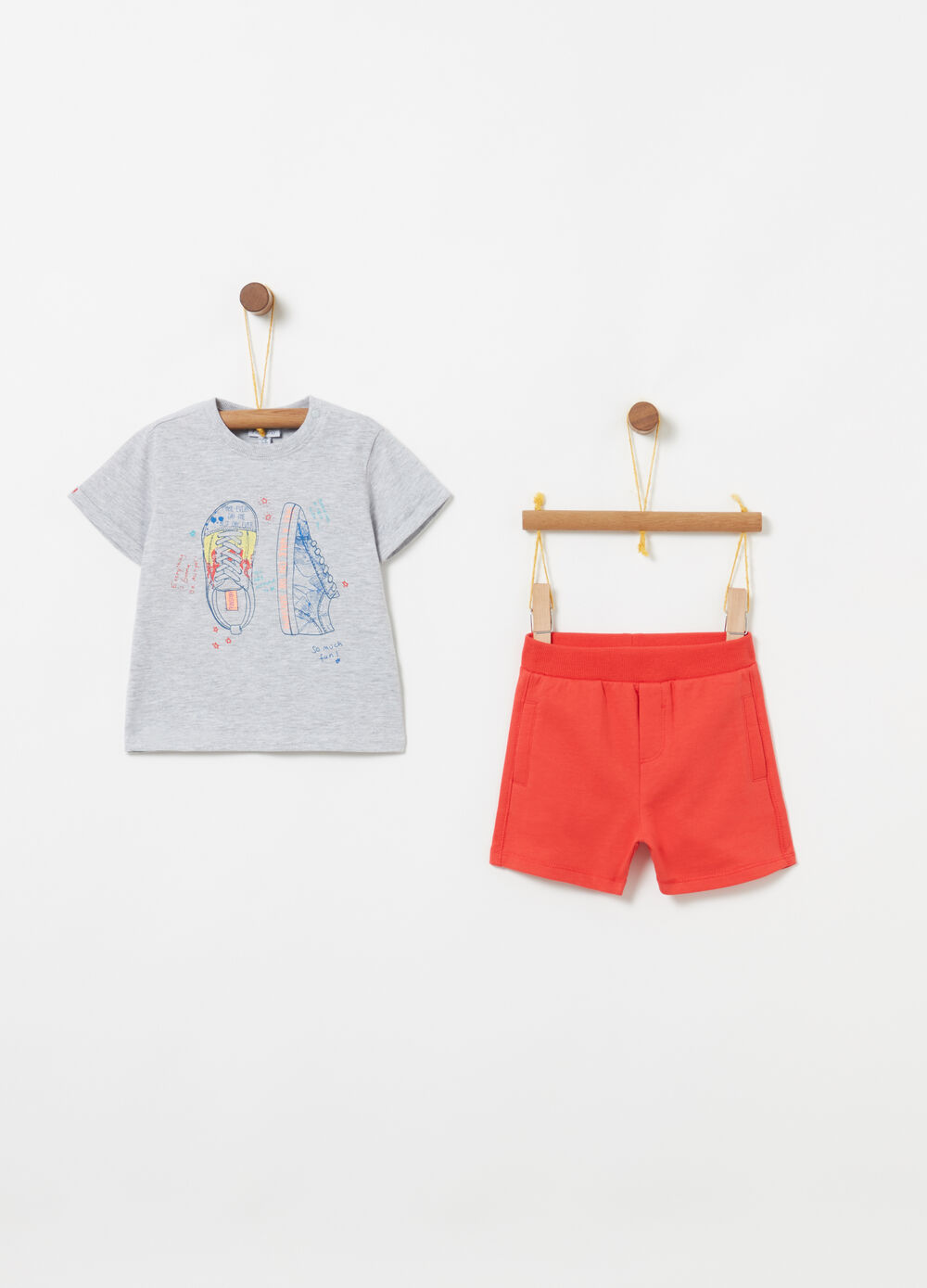 Jogging set t-shirt shorts costina e stampa