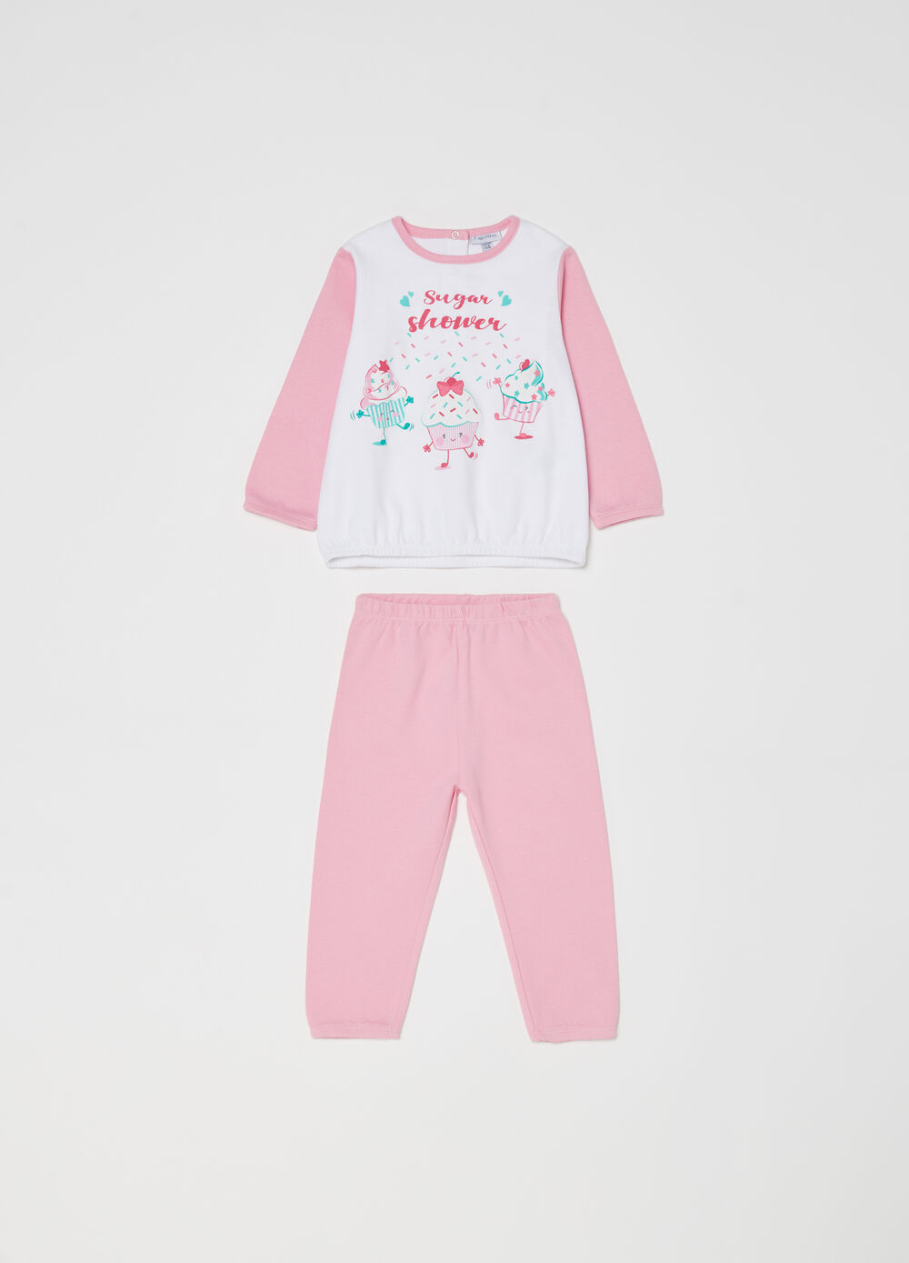 Pyjamas with top and trousers with sweets print
