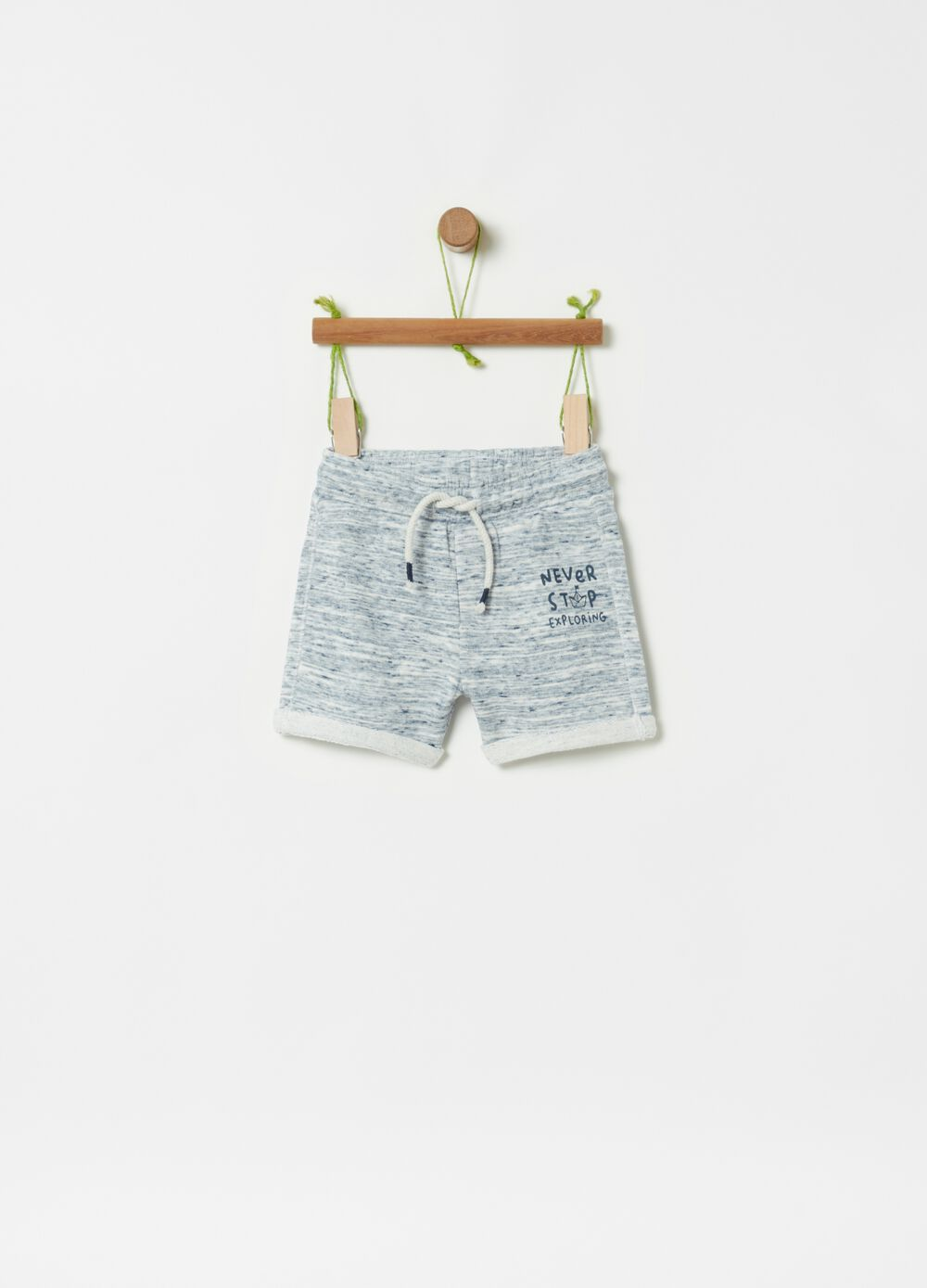 Mélange shorts with drawstring