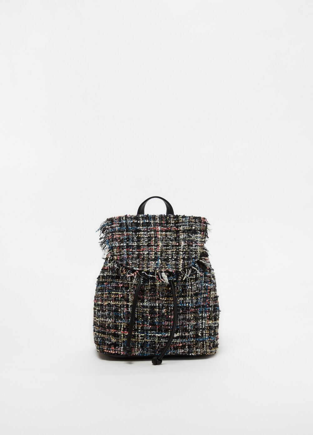 Backpack with tweed-effect flap